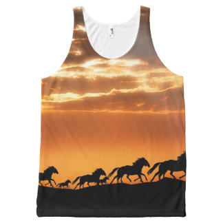 Horses in sunset All-Over print tank top