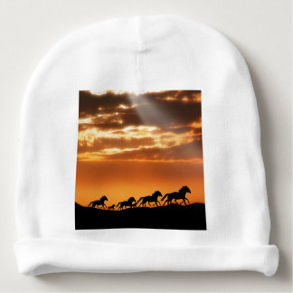 Horses in sunset baby beanie