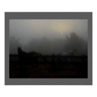 Horses in the Fog Poster