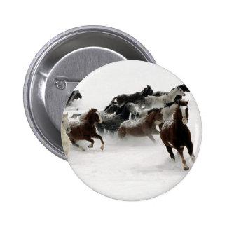 Horses in the snow 6 cm round badge