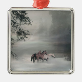 Horses in the snow Christmas Ornament