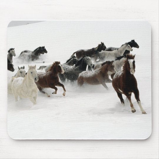 Horses in the snow mouse mat