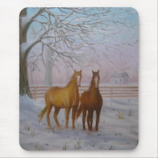 Horses in the Snow oil painting by Joanne Casey -  Mouse Pad