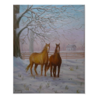 Horses in the Snow oil painting by Joanne Casey -  Poster