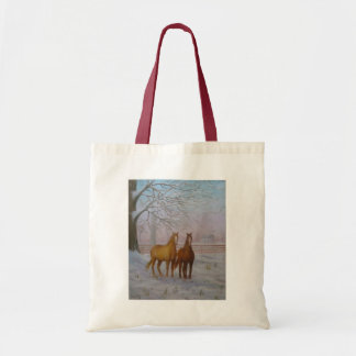 Horses in the Snow Oil Painting by Joanne Casey -  Tote Bag