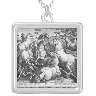 Horses in the wild silver plated necklace