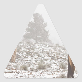 Horses in the Winter Snow and Fog Triangle Stickers