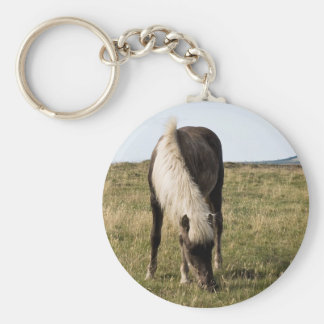 Horses in Whale-fjord Basic Round Button Key Ring