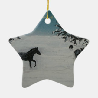 horses in winter christmas ornament