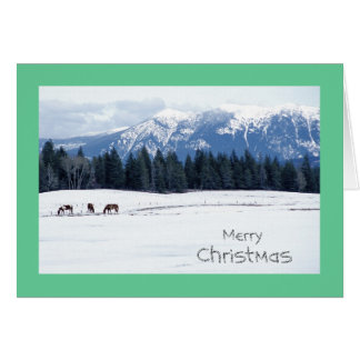 Horses in Winter, Idaho, Christmas Card