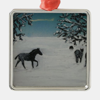 horses in winter Silver-Colored square decoration
