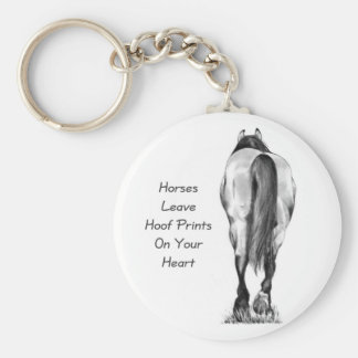Horses Leave Hoofprints On Your Heart: Pencil Art Basic Round Button Key Ring