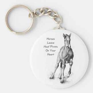 Horses Leave Hoofprints On Your Heart: Pencil Art Key Ring