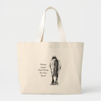 Horses Leave Hoofprints On Your Heart: Pencil Art Large Tote Bag
