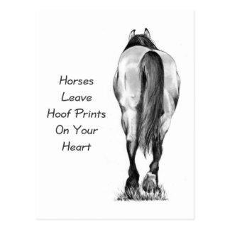 Horses Leave Hoofprints On Your Heart: Pencil Art Postcards