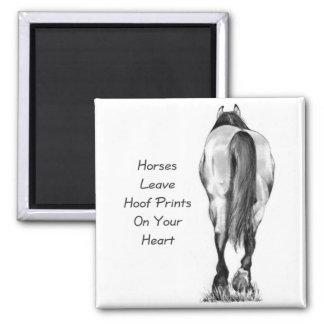 Horses Leave Hoofprints On Your Heart: Pencil Art Square Magnet