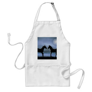 Horses making friends by moonlight aprons