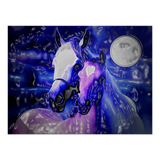 Horses & Night Poster Print - Abstract Horses