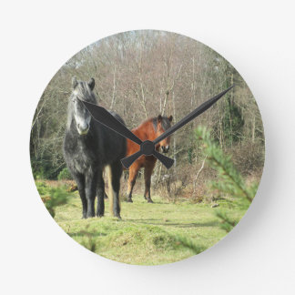 Horses of The Forest 1 Round Clock