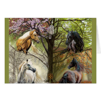 Horses of the Four Seasons Blank Note Card