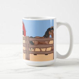 Horses on a Farm Basic White Mug