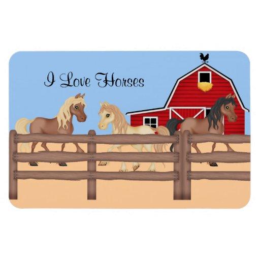 Horses on a Farm Rectangle Magnets
