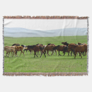 Horses on Grassland - Landscape Photograph Throw Blanket