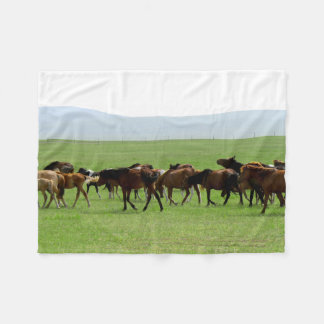 Horses on Pasture - Landscape Photograph Fleece Blanket