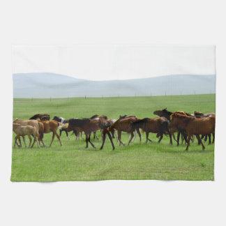 Horses on Pasture - Landscape Photograph Hand Towels