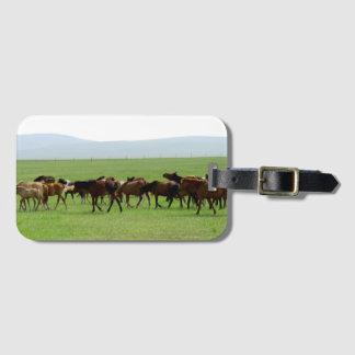 Horses on Pasture - Landscape Photograph Luggage Tag