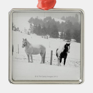 Horses on ranch christmas ornament