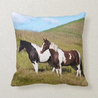 Horses on the hillside cushion