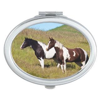 Horses on the hillside mirror for makeup