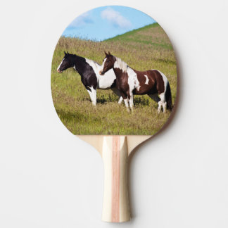 Horses on the hillside ping pong paddle