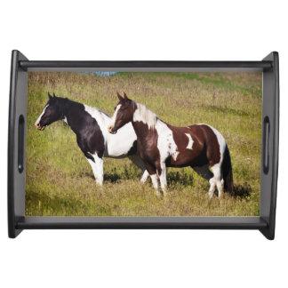 Horses on the hillside serving tray