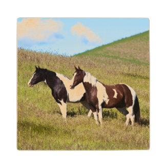 Horses on the hillside wood coaster