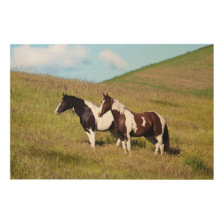 Horses on the hillside wood prints