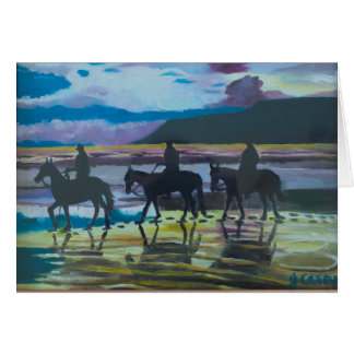 Horses on Waterfoot Beach, County Antrim Card
