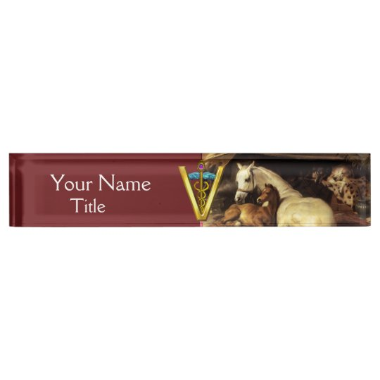 HORSES, OTHER ANIMALS ,CADUCEUS VETERINARY SYMBOL NAME PLATE