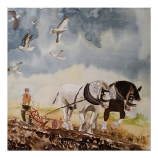 Horses Ploughing Watercolour Poster
