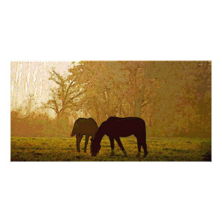 Horses Pop Art Personalized Photo Card