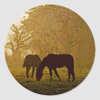 Horses Pop Art Round Sticker
