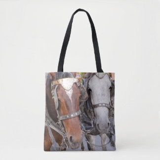 Horses Pull a Carriage Tote Bag