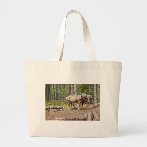 Horses Pulling Logs In Woods of Maine Tote Bag