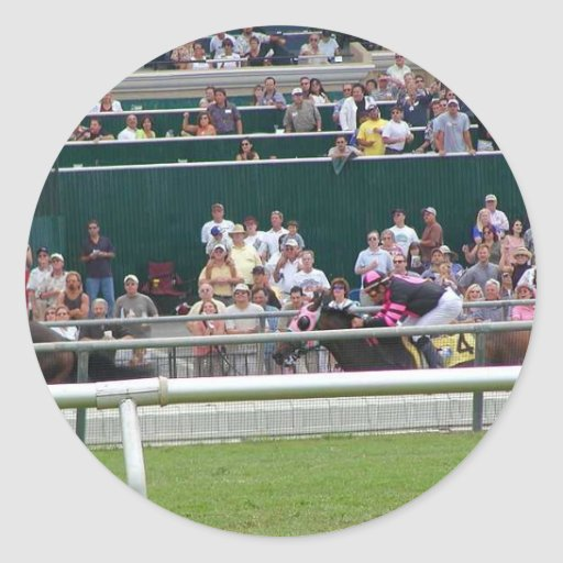 Horses Racing Tracks Round Sticker