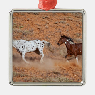 Horses roaming the Big Horn MT of Shell Wyoming. 2 Christmas Ornament