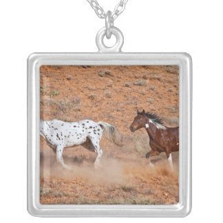 Horses roaming the Big Horn MT of Shell Wyoming. 2 Silver Plated Necklace