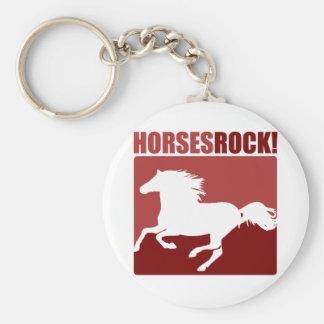 Horses Rock! #4 Basic Round Button Key Ring