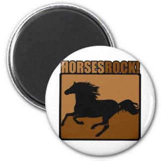Horses Rock! 6 Cm Round Magnet