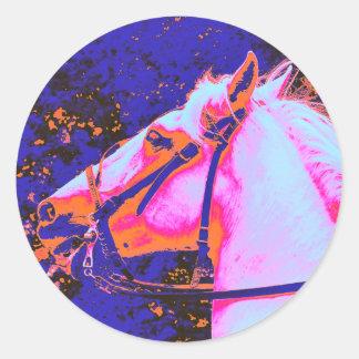 HORSES ROUND STICKER